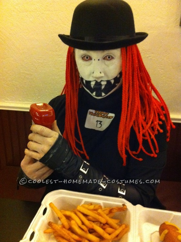 Creepy DIY Costume with orange Hair and Wicked Face - 2