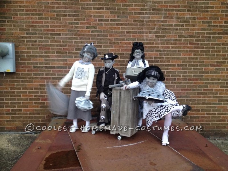 Black and White 50's  TV Family Costume