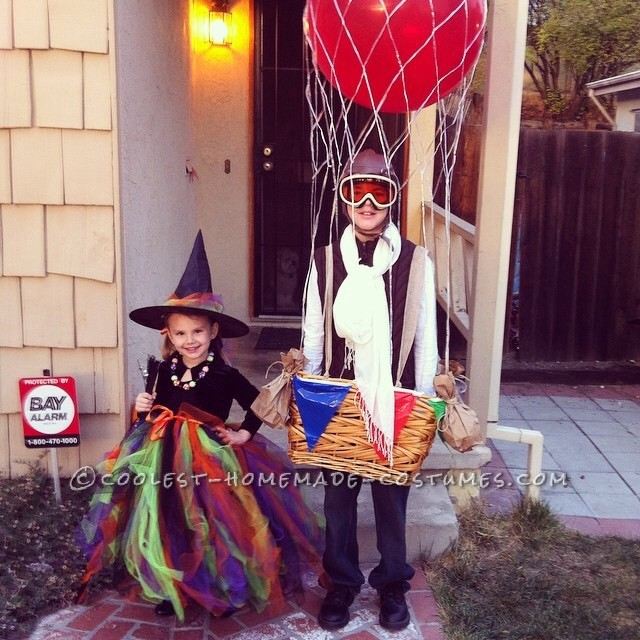 Hot air ballon and fancy witch
