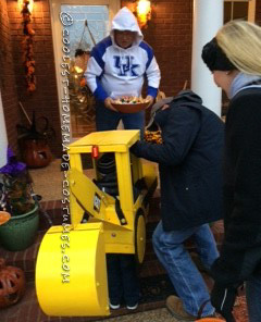 Super Cool Backhoe Costume for a 3-year-Old (Load On the Treats!)
