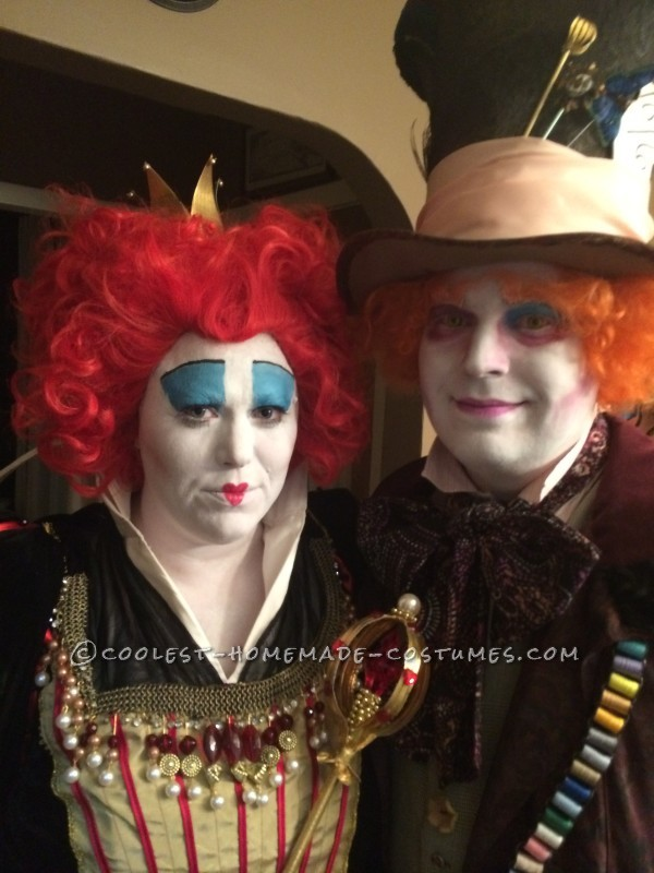 Great Red Queen and Mad Hatter Couple Costume - 4