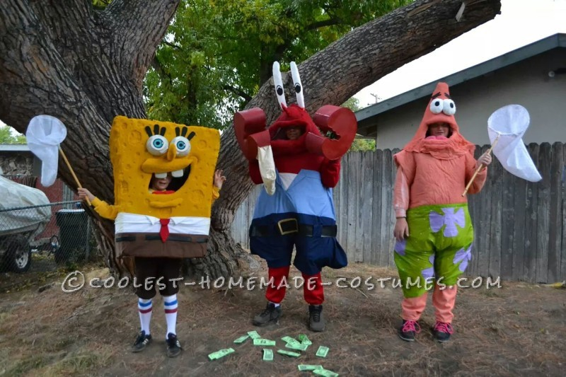 Cool DIY Spongebob Crew Group Costume