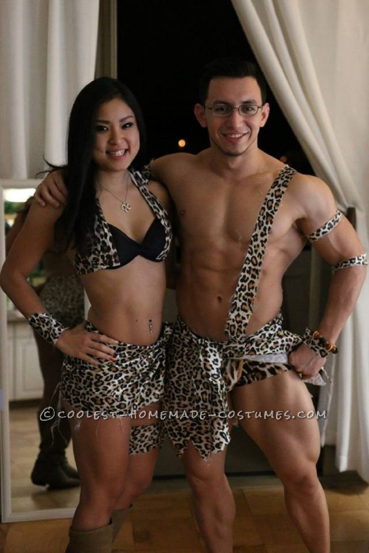 Bodybuilder Tarzan and Jane Couple Costume