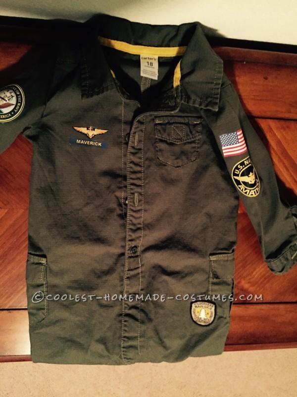 Top Gun Baby Pilot Costume with an F-14 Tomcat Jet Plane - 5