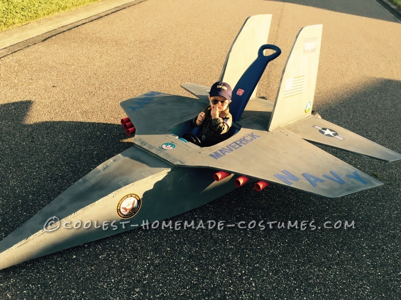 Top Gun Baby Pilot Costume with an F-14 Tomcat Jet Plane