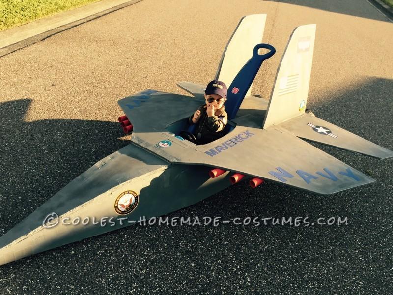 Top Gun Baby Pilot Costume with an F-14 Tomcat Jet Plane