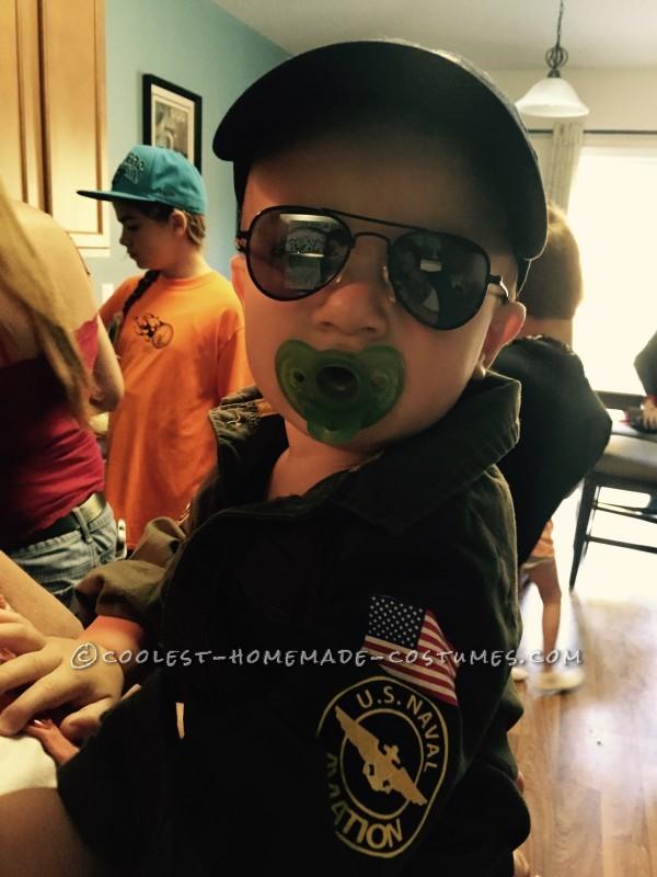 Top Gun Baby Pilot Costume with an F-14 Tomcat Jet Plane - 4