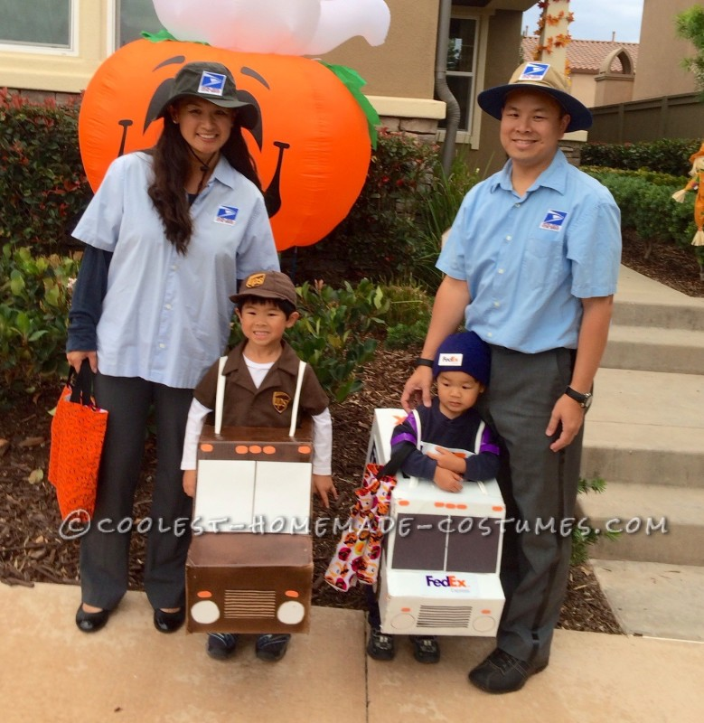 ups fedex and usps family costume working together for on time delivery. Black Bedroom Furniture Sets. Home Design Ideas