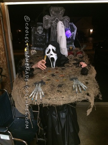Homemade Walking Cemetary Halloween Costume for a Woman