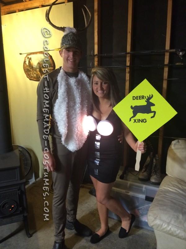 Coolest Homemade Deer in Headlights Couple Costume