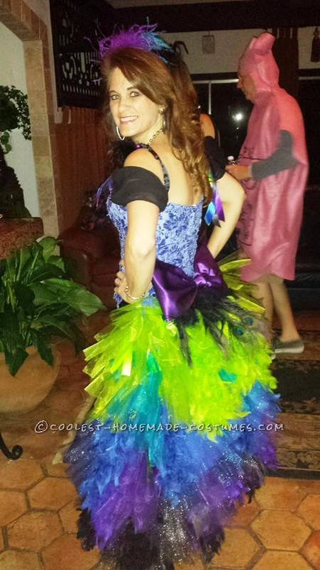 Wedding Dress Turned to Colorful Peacock Costume