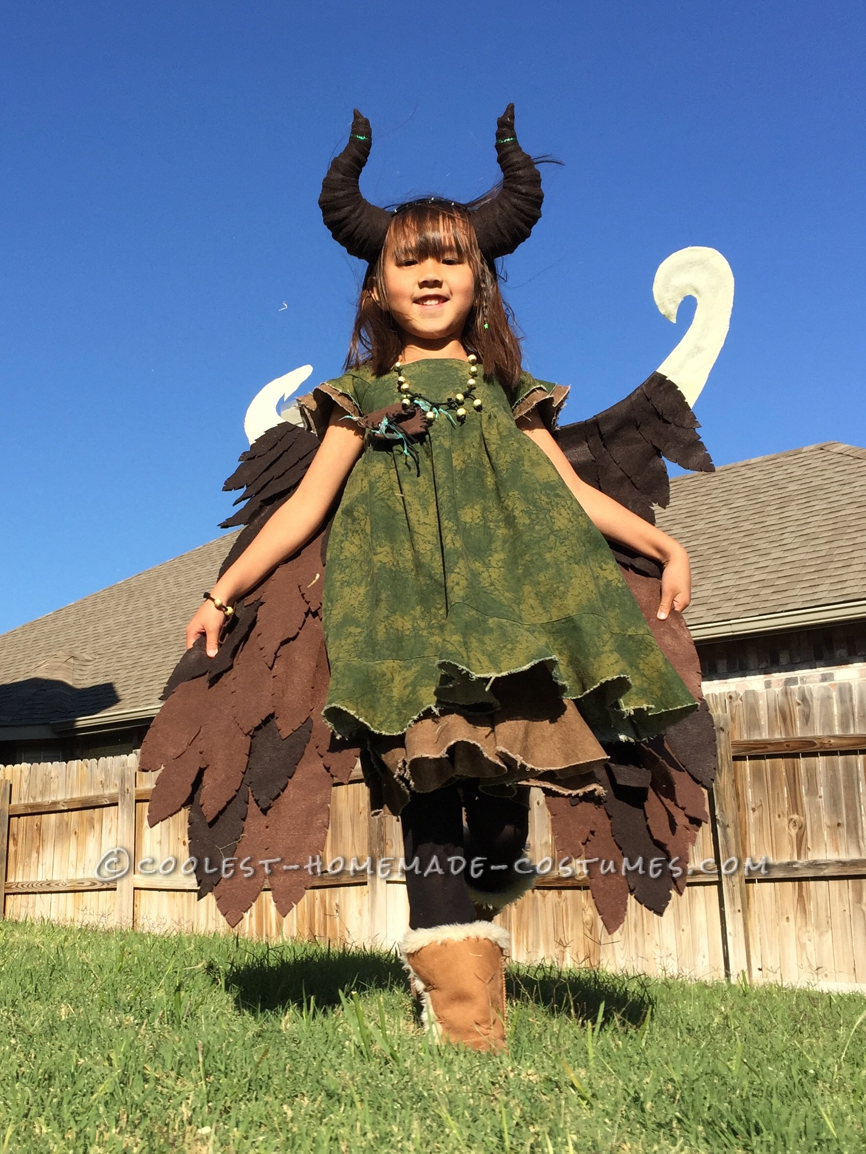 Young Homemade Maleficent Costume - Only If She Could Fly!