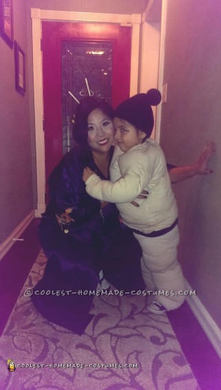 Sumo Wrestler Toddler and Geisha Mom Couple Costume
