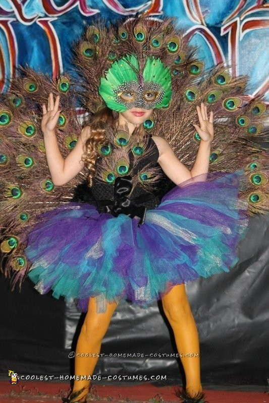 Stunning Girls Peacock Costume - 1