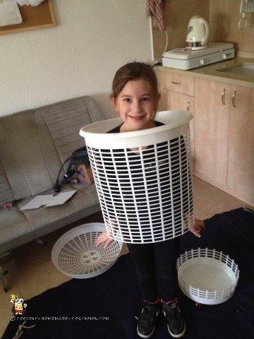 Popcorn Costume - Cutting the Laundry Basket