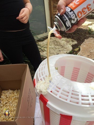 Adding the first bit of foam to the Popcorn Costume