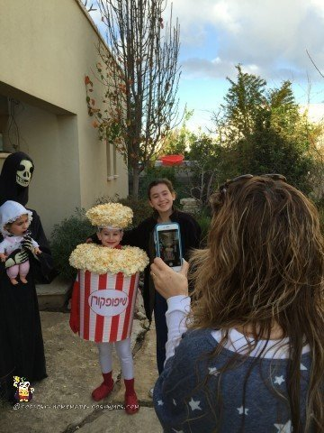 Photo time for popcorn costume and alien abduction costume