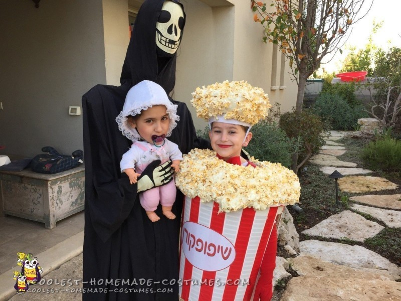 Posing for a Popcorn Costume and Alien Abduction Picture