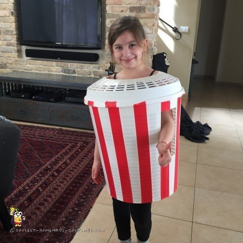 The tape is on the Popcorn costume, now we're ready for the Popcorn