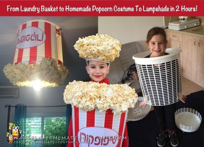 Laundry basket to popcorn costume to lampshade in under two hours!
