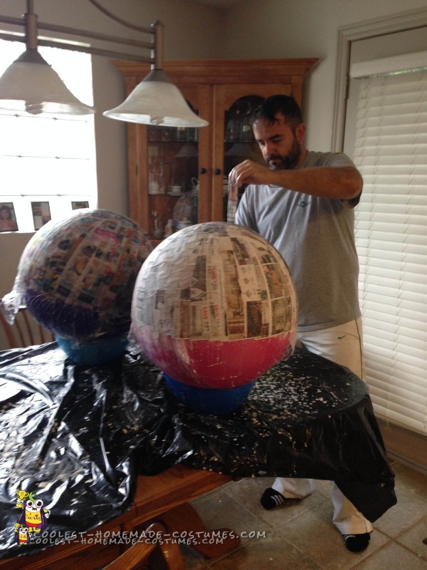 Paper Mache Time for the Minion Costumes!