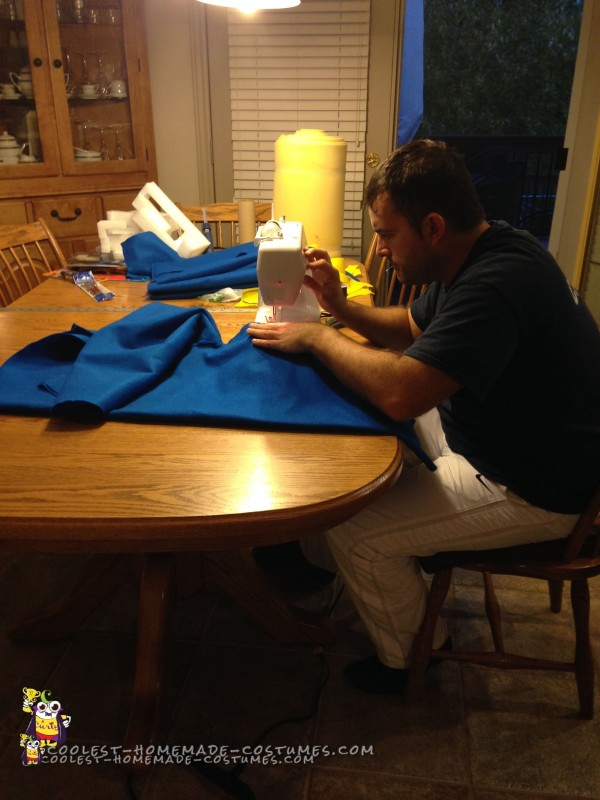 Sewing the Minion Costumes Overalls...that's right I SEW!! ;-)