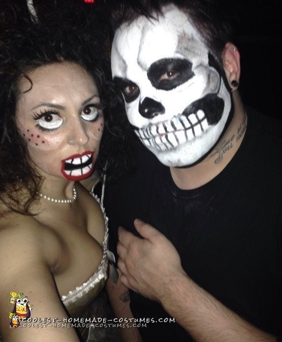 My mouth was closed most the night because I had to paint on my chin to make the creepy mouth!