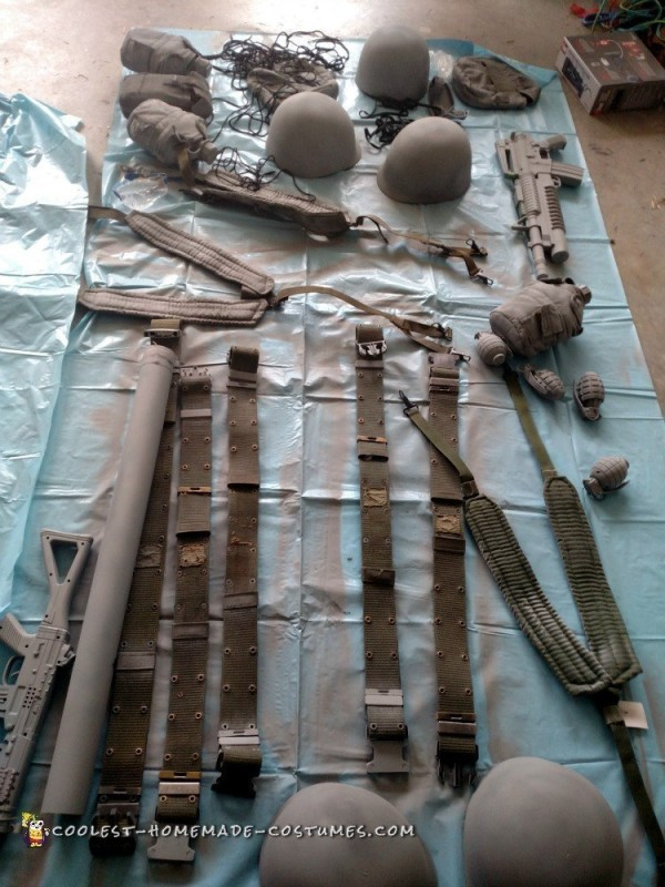 Costume Parts Primed and Ready for Paint
