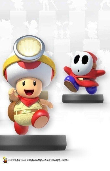 Cool Mario Brothers Costumes: Captain Toad, Toadette and Shy Guy