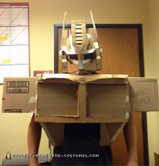 Custom Cardboard Box Optimus Prime Transformer Costume