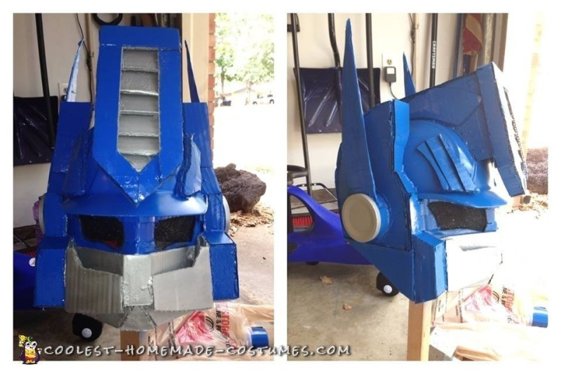 Custom Cardboard Box Optimus Prime Transformer Costume