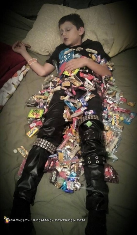 All that trick or treating left him pooped! Lol