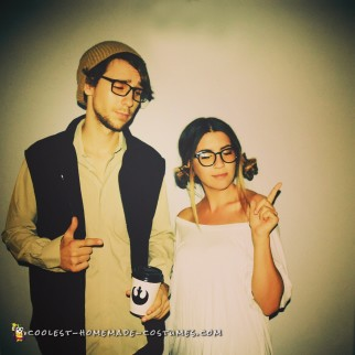 Hipster Han Solo and Princess Leia Couple Costume