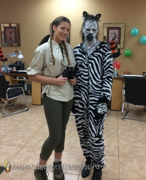 Jungle Love Couple Costume: Zebra and Safari Tour Guide