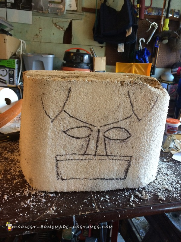 Batmans face before he carved it