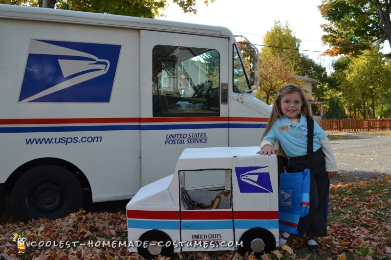 Cool Mail Carrier and Postage Stamp Couple Costume - 3