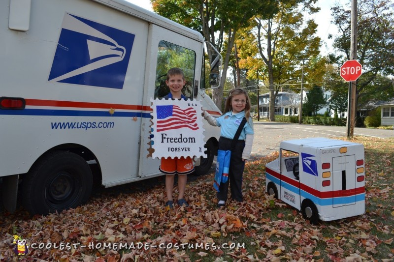 Cool Mail Carrier and Postage Stamp Couple Costume - 2
