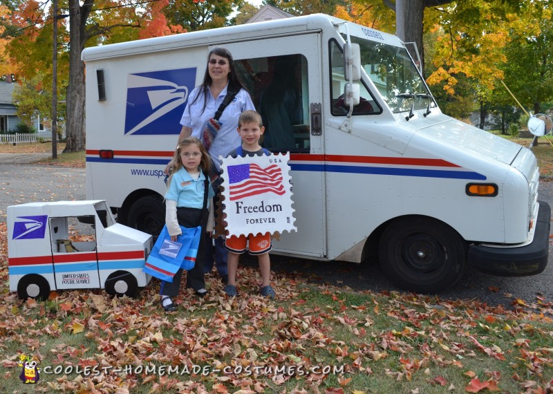 Here are the kids with Cheryl, our real-life mail lady and costume inspiration.