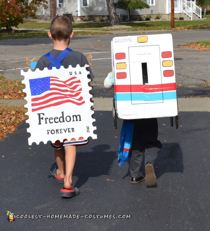 Cool Mail Carrier and Postage Stamp Couple Costume