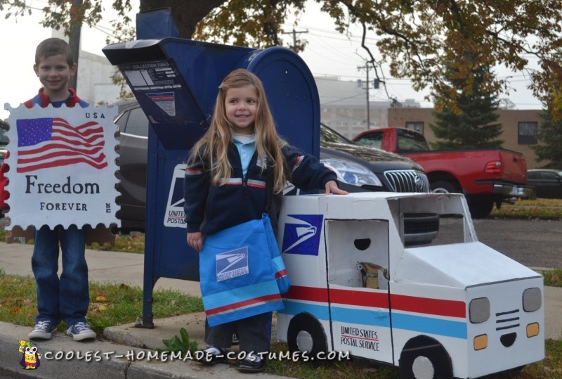 Cool Mail Carrier and Postage Stamp Couple Costume - 6