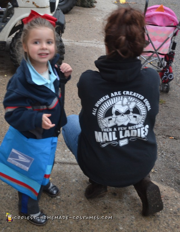 We met this proud mail carrier while attending a Halloween parade out of town.  We got such a kick out of her shirt and wish we could buy one for all the gals at our local PO!