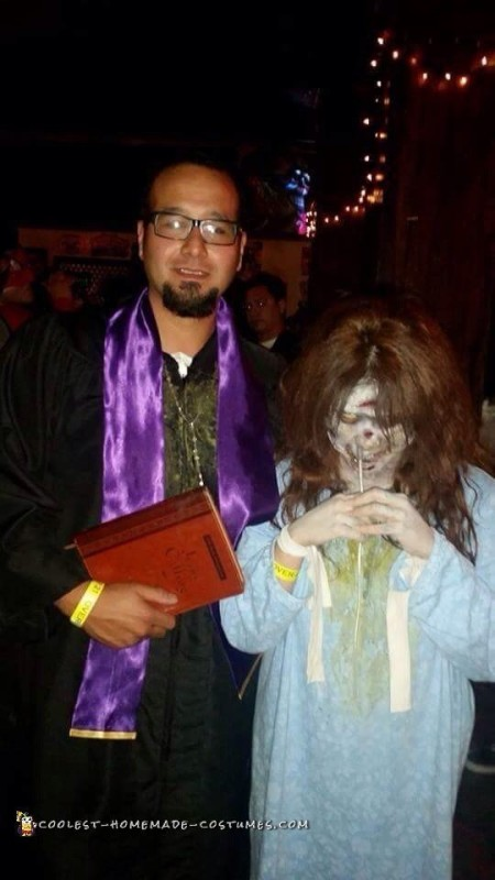 Linda Blair Exorcist and Priest Couple Costume - 1