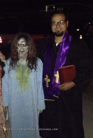 Linda Blair Exorcist and Priest Couple Costume