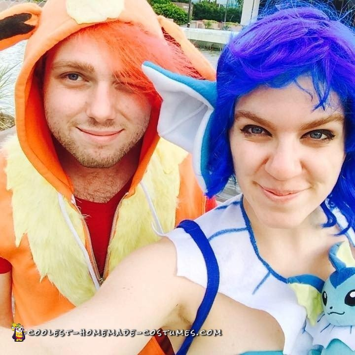 Pokemon in Love: Vaporeon and Flareon Couple Costume