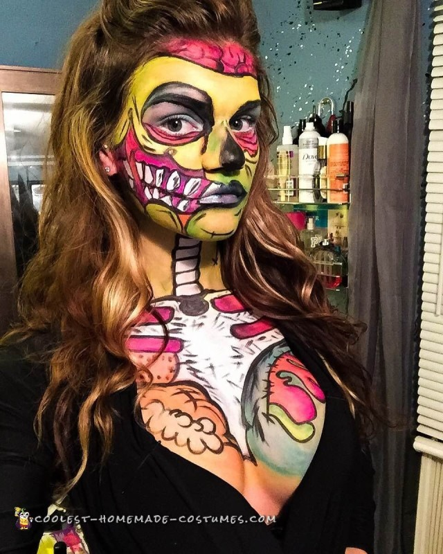 Pop Art Zombie Makeup and Costume - 1