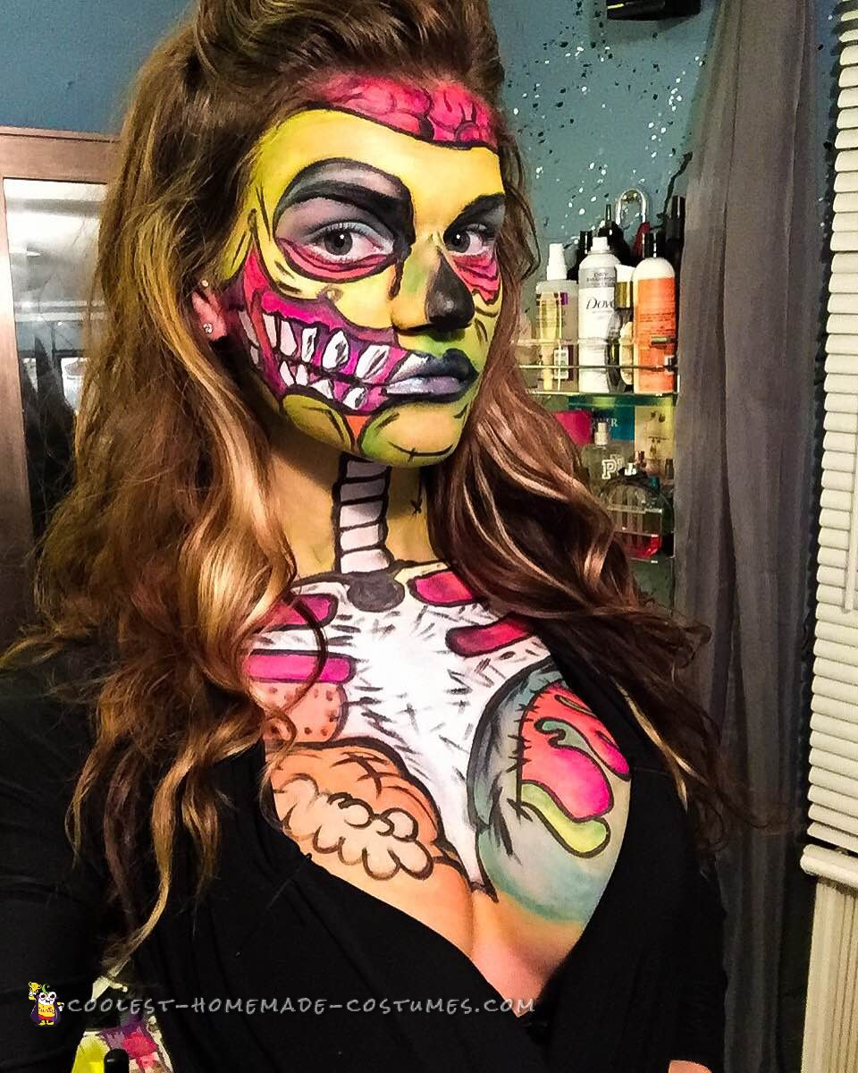 Pop Art Zombie Makeup and Costume