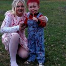 Simple Yet Scary Chucky and His Bride Mother and Son Costumes