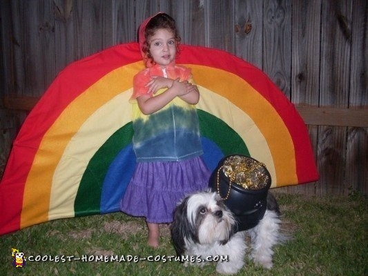 Girl and Dog Costume - Rainbow and Pot of Gold