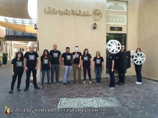 Halloween just got REEL - Projectionist Movie Camera and Reel Group Costume