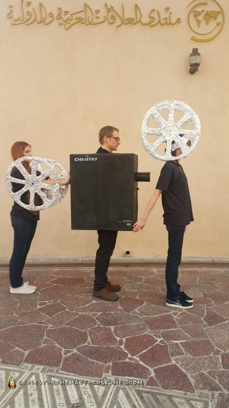 Halloween just got REEL – Projectionist Movie Camera and Reel Group Costume